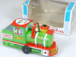 Yone 2055 Crazy Locomotive Monkey Train Wind Up Blech Japan OVP