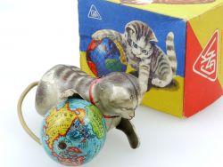 Köhler Katze Globus Weltkugel (selten) Blech Uhrwerk OVP US Zone MIB