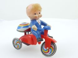 SU Korea Dreirad Tricycle mit Puppe Uhrwerk Blech Motorrad 60er