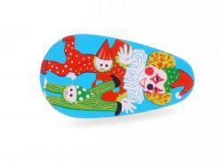 Kinder ratchet Blech-Ratsche tin toy Blechspielzeug Clown-Logo SG
