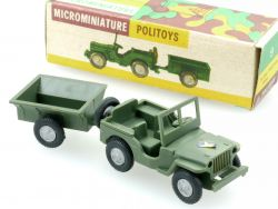 Politoys 9 Jeep Hotchkiss-Willys Jeep mit Anhänger Militär 1:41 OVP