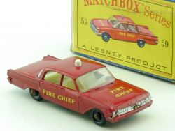 Matchbox 59 B Regular Wheels Ford Fairlane Fire Chief Car BPW OVP