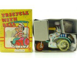 MS 710 Tricycle Bell Dreirad Uhrwerk Blechspielzeug alt OVP ST