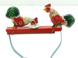 MM 059 Kampfhähne pickender Hahn Hähne Blechspielzeug China alt SG