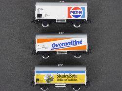 Märklin 3x Bierwagen Staufen Pepsi Ovomaltive 4429 4428 4419 OVP