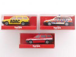 Herpa 3x Einsatzfahrzeuge 2x VW Golf 1x VW Passat Variant OVP