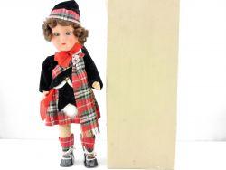 VEB DDR Puppe Kilt Schottenrock Mädchen Stimme Vintage TOP OVP