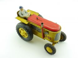 Joustra J-12 Traktor tracteur Uhrwerk wind up tin toy Blech