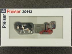 Preiser 30443 Figuren Set Mähmaschine Ochsen-Gespann 1:87 OVP SG