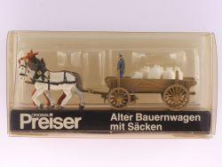 Preiser 470 Alter Bauernwagen mit Säcken Kutsche Pferde 1:87 OVP