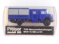 Preiser 1169 Mercedes MB LA 911 THW Manschaftswagen MKW 72 OVP