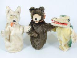 Steiff 3x Handspielpuppe 317 Wolf Teddy Krokodil 50er gut!