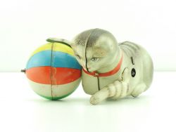 Köhler Katze großer Blechball Made in US Zone Uhrwerk Blechspielzeug
