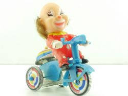 SU Korea Dreirad Tricycle Clown Uhrwerk Blech Motorrad 60er