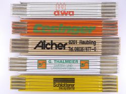 Sammlung 5x Zollstock Meterstab Schlotterer Aicher AWA TOP!