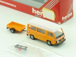 Herpa 042277 Mercedes 100 D Kleinbus Anhänger Kommunal 1:87 OVP