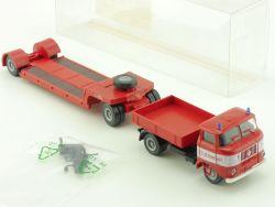 SES 14 1055 50 IFA Feuerwehr Tieflader Anhänger H0 1:87 OVP