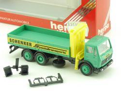 Herpa 140096 Mercedes Schenker Spezialtransport Lkw Ladekran OVP