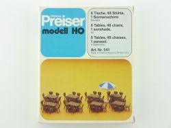 Preiser 541 Tische Stühle Sonnenschirm für Wirtschaft Modell OVP