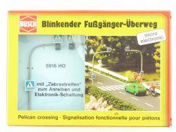 Busch 5916 Blinkender Fußgänger-Überweg Zebrastreifen H0 OVP