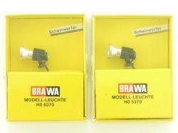 Brawa 2x 5370 Scheinwerfer Strahler Modellleuchte H0 OVP ST