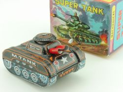 Yone Mechanical Super Tank Tin Toy Panzer Japan Uhrwerk MIB