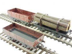 Fleischmann Konvolut 3x Güterwagen Spur 0 Holzwagen Niederbord