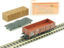 Arnold 4471 Hochbordwagen mit Ladung Holz Kohle Spur N TOP OVP