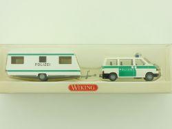 Wiking 1041635 Polizei VW Caravelle Wohnwagen Bus Anhänger OVP