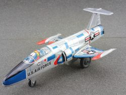 K Japan Lockheed F-104 Starfighter USAF tin litho plane silver
