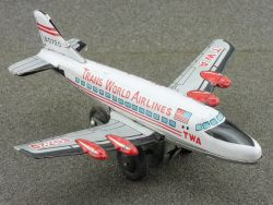 Japan B0720 TWA Trans World Airlines tin litho airplane rare