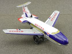 Ichimura Japan Boeing 727 United Airlines tin Airplane 60er
