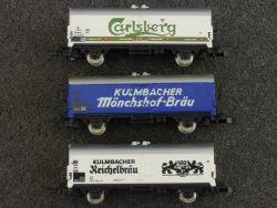 Märklin 3x mini-club Bierwagen Kulmbacher Carlsberg DB SW Z