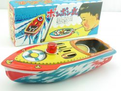 Altes Japan Kerzen-Boot Boat Blechschiff Knatterboot TOP MIB OVP SG