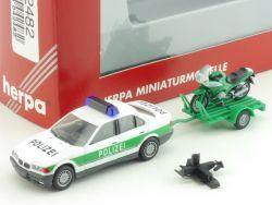 Herpa 042482 BMW 325i E36 Anhänger Motorrad BMW RS 1100 1:87 OVP