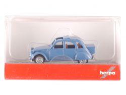 Herpa 027632 Citroen 2 CV mit Queue blau Ente Modellauto1:87 OVP
