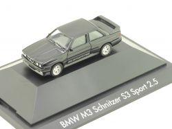 Herpa 100991 BMW M3 Schnitzer S3 Sport 2.5 Schwarz Vitrine  OVP