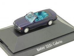 Herpa 100571 BMW 325i E36 Cabrio Blau Hardtop Vitrine PC NEU OVP