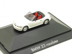 Herpa 101042 BMW Z3 Roadster Perlmuttweiß PC Vitrine NEU! OVP