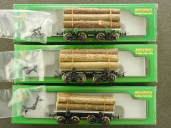 Mehano 3x USA US-Log Car Ladegut Stammholz Holzwagen H0 OVP