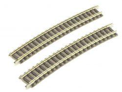Fleischmann 9131 2x Gebogenes Gleis R3 dunkleres Design