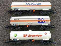 Arnold 3x Tankwagen VTG 4373 BP 4374 Rheingas 4375 SW N