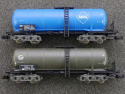 Fleischmann 2x Kesselwagen Aral 8483 Eva 8485 SW N