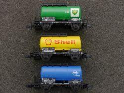 Minitrix 3x Kessel Tankwagen Shell 13541 BP 13544 Aral 13986