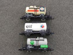 3x Kesselwagen Fleischmann Esso 8400 Bayer 8409 Minitrix elf
