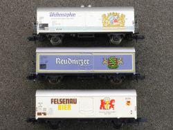 3x Bierwagen Fleischmann 8329 Arnold Felsenau Reudnitzer Bier