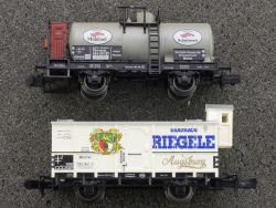 2x Güterwagen Minitrix Riegele Augsburg Fleischmann Mobiloel