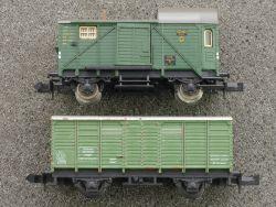 2x Güterwagen Minitrix 3516 Begleitwagen Fleischmann 8300