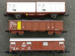 3x Güterwagen Minitrix Arnold Roco auch DB Post SNCF TOP!