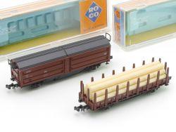 Roco 2x Güterwagen 2304 Schiebedachwagen 2314 Rungenwagen OVP